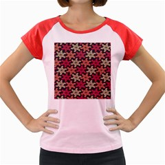 Floral Seamless Pattern Vector Women s Cap Sleeve T-Shirt