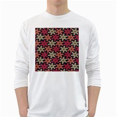 Floral Seamless Pattern Vector White Long Sleeve T-Shirts