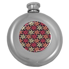 Floral Seamless Pattern Vector Round Hip Flask (5 oz)