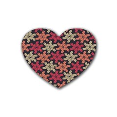 Floral Seamless Pattern Vector Rubber Coaster (Heart)