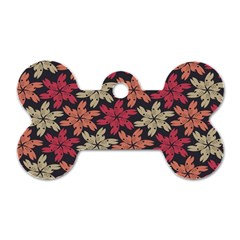 Floral Seamless Pattern Vector Dog Tag Bone (one Side)