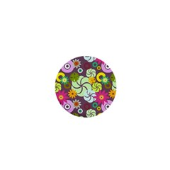 Floral Seamless Pattern Vector 1  Mini Buttons