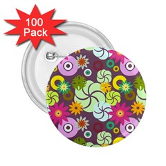 Floral Seamless Pattern Vector 2.25  Buttons (100 pack)