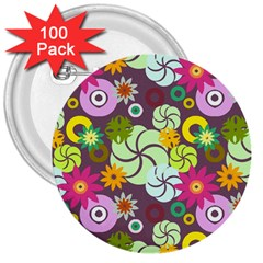 Floral Seamless Pattern Vector 3  Buttons (100 Pack)