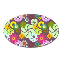 Floral Seamless Pattern Vector Oval Magnet