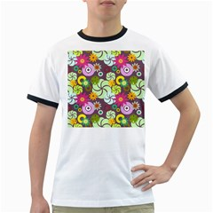 Floral Seamless Pattern Vector Ringer T Shirts