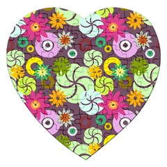 Floral Seamless Pattern Vector Jigsaw Puzzle (Heart)