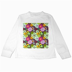Floral Seamless Pattern Vector Kids Long Sleeve T-Shirts