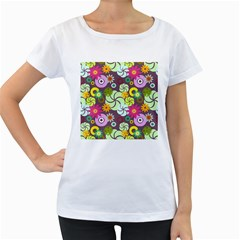 Floral Seamless Pattern Vector Women s Loose Fit T Shirt (white)