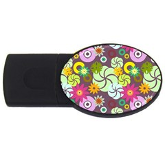 Floral Seamless Pattern Vector USB Flash Drive Oval (4 GB)