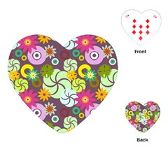 Floral Seamless Pattern Vector Playing Cards (Heart)