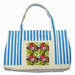 Floral Seamless Pattern Vector Striped Blue Tote Bag