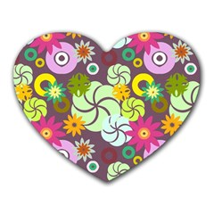 Floral Seamless Pattern Vector Heart Mousepads