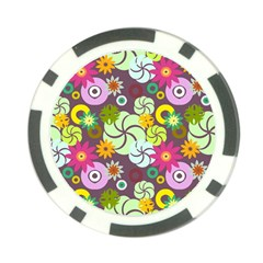 Floral Seamless Pattern Vector Poker Chip Card Guard