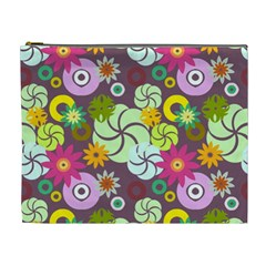 Floral Seamless Pattern Vector Cosmetic Bag (xl)