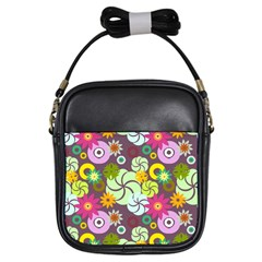 Floral Seamless Pattern Vector Girls Sling Bags