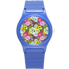 Floral Seamless Pattern Vector Round Plastic Sport Watch (S)