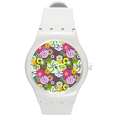 Floral Seamless Pattern Vector Round Plastic Sport Watch (m)