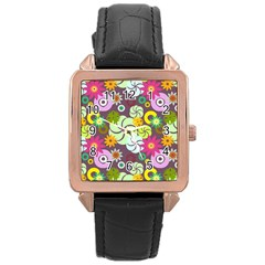 Floral Seamless Pattern Vector Rose Gold Leather Watch