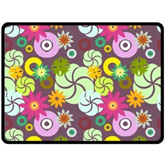 Floral Seamless Pattern Vector Double Sided Fleece Blanket (large)
