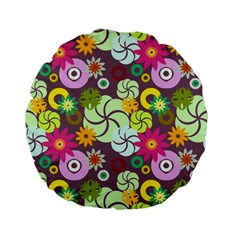 Floral Seamless Pattern Vector Standard 15  Premium Flano Round Cushions