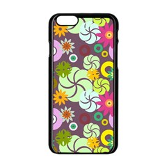 Floral Seamless Pattern Vector Apple Iphone 6/6s Black Enamel Case