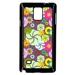 Floral Seamless Pattern Vector Samsung Galaxy Note 4 Case (Black)