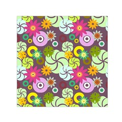 Floral Seamless Pattern Vector Small Satin Scarf (square)