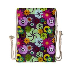 Floral Seamless Pattern Vector Drawstring Bag (Small)
