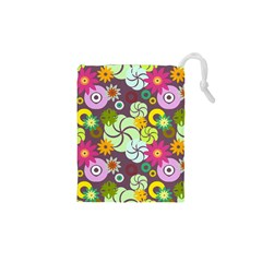 Floral Seamless Pattern Vector Drawstring Pouches (XS)