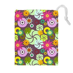 Floral Seamless Pattern Vector Drawstring Pouches (Extra Large)