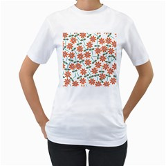 Floral Seamless Pattern Vector Women s T Shirt (white) (two Sided)