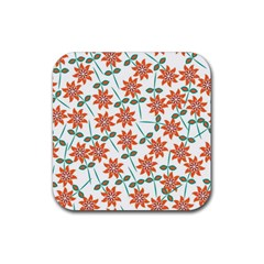 Floral Seamless Pattern Vector Rubber Coaster (square)
