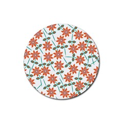 Floral Seamless Pattern Vector Rubber Round Coaster (4 Pack)