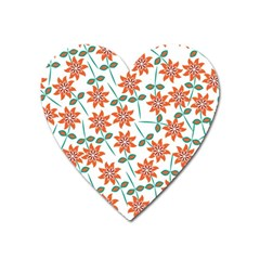 Floral Seamless Pattern Vector Heart Magnet