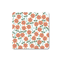 Floral Seamless Pattern Vector Square Magnet