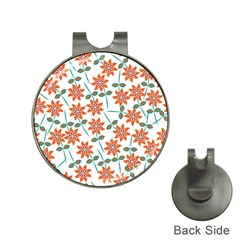 Floral Seamless Pattern Vector Hat Clips with Golf Markers