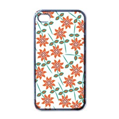 Floral Seamless Pattern Vector Apple iPhone 4 Case (Black)