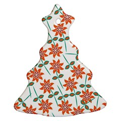 Floral Seamless Pattern Vector Christmas Tree Ornament (two Sides)