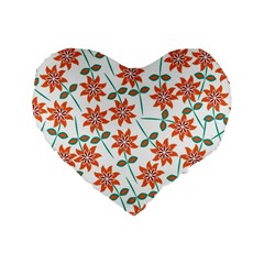 Floral Seamless Pattern Vector Standard 16  Premium Heart Shape Cushions