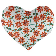 Floral Seamless Pattern Vector Large 19  Premium Heart Shape Cushions