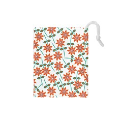 Floral Seamless Pattern Vector Drawstring Pouches (Small)