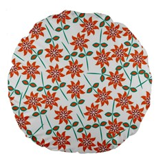 Floral Seamless Pattern Vector Large 18  Premium Flano Round Cushions