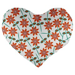 Floral Seamless Pattern Vector Large 19  Premium Flano Heart Shape Cushions