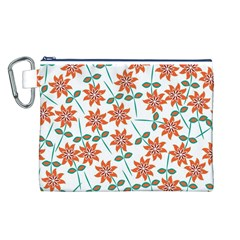 Floral Seamless Pattern Vector Canvas Cosmetic Bag (l)