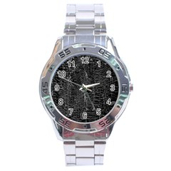 Old Black Background Stainless Steel Analogue Watch