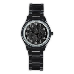Old Black Background Stainless Steel Round Watch