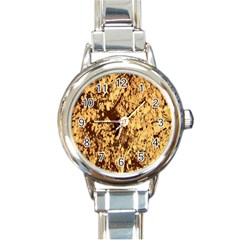 Abstract Brachiate Structure Yellow And Black Dendritic Pattern Round Italian Charm Watch