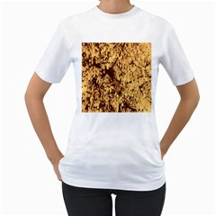 Abstract Brachiate Structure Yellow And Black Dendritic Pattern Women s T-Shirt (White) (Two Sided)
