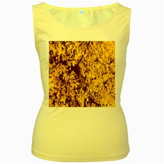 Abstract Brachiate Structure Yellow And Black Dendritic Pattern Women s Yellow Tank Top